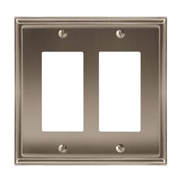 Plaque double pour interrupteur Mulholland, métal, nickel
