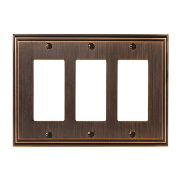 Plaque d'interrupteur triple Mulholland, métal, bronze huilé