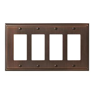 Amerock Canada Mulholland Oil Rubbed Bronze 4-Rocker Wall Plate