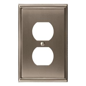 Amerock Canada Mulholland Satin Nickel 1-Receptacle Wall Plate