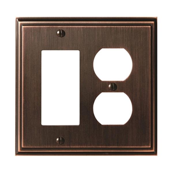 Mulholland 1-Rocker/1-Receptacle Wall Plate - Metal - Bronze