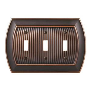 Amerock Canada Sea Grass Oil Rubbed Bronze 3-Toggle Wall Plate