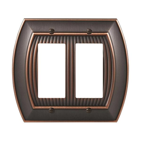 Plaque pour interrupteur double Sea Grass, métal, bronze