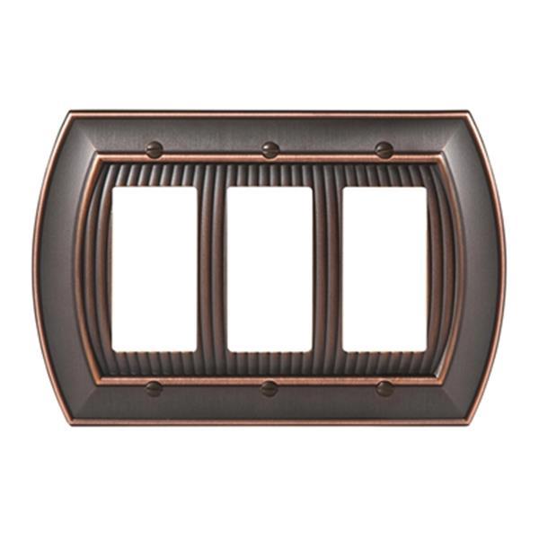 Plaque triple pour interrupteur Sea Grass, métal, bronze