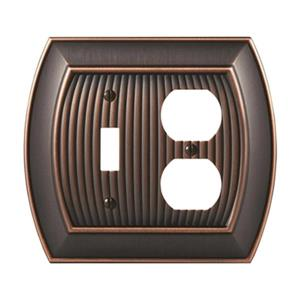 Amerock Canada Sea Grass Oil Rubbed Bronze 1-Toggle/1-Receptacle Wall Plate