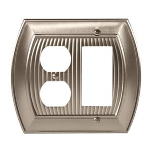 Amerock Canada Sea Grass Satin Nickel 1-Rocker/1-Receptacle Wall Plate