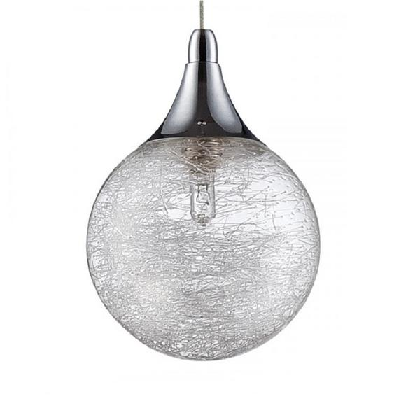 Kendal Lighting 4.75-in Chrome Mini Modern Textured Glass Globe 1-Light Pendant