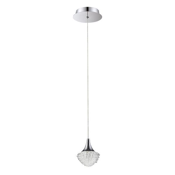 Kendal Lighting 4.75-in Chrome Mini Modern Textured Glass Acorn 1-Light Pendant