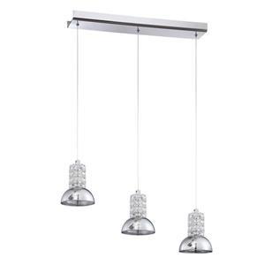 Kendal Lighting 25.00-in Chrome Modern Mirrored Glass Dome Rectangular 3-Light Pendant