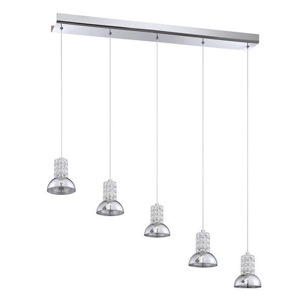 Kendal Lighting 36.00-in Chrome Modern Mirrored Glass Dome Rectangular 5-Light Pendant