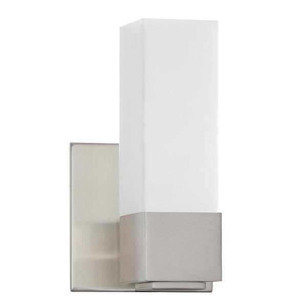 Kendal Lighting Madison 5-in Satin Nickel 1-Light Rectangle Vanity Light