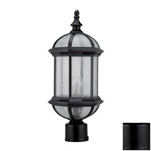 DVI Hexagon 18-in Black Seeded Glass Post Light