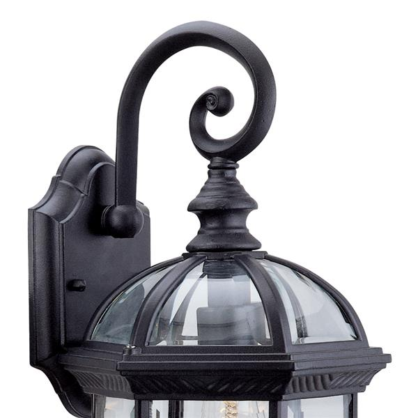 DVI Hexagon 15.5-in Black Clear Beveled Glass Outdoor Wall Light