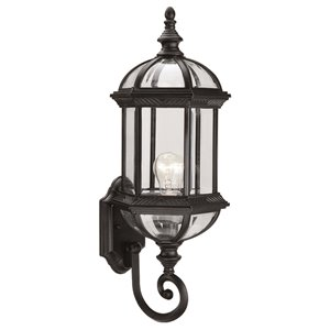 DVI Hexagon 21-in Black Clear Beveled Glass Outdoor Wall Light