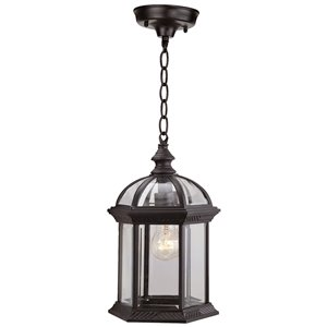 DVI Hexagon Black Clear Bevelled Glass Traditional Pendant Lighting