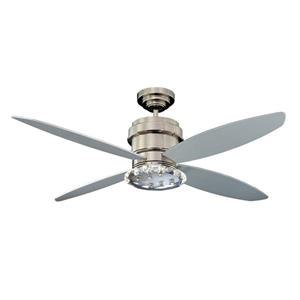 Kendal Lighting Optica 52-in Polished Nickel 4 Blade Indoor Ceiling Fan with Light Kit and Remote