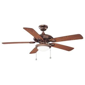 Kendal Lighting Builder's Choice 52-in Oil Brushed Bronze Indoor Ceiling Fan with Light Kit