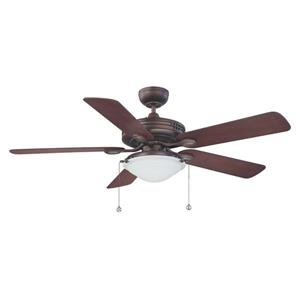 Kendal Lighting Builder's Choice 52-in Oil-Brushed Bronze Indoor Ceiling Fan with Light Kit