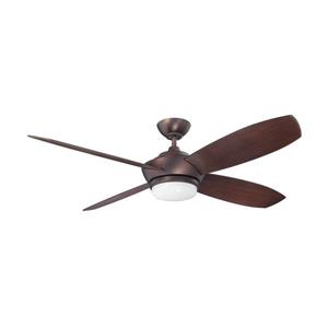 Kendal Lighting Zeta 52-in Oil Brushed Bronze 4 Blade Indoor Ceiling Fan with Light Kit and Remote