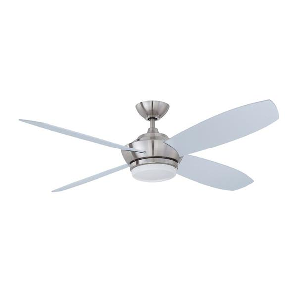 Kendal Lighting Zeta 52-in Satin Nickel 4 Blade Indoor Ceiling Fan with Light Kit and Remote