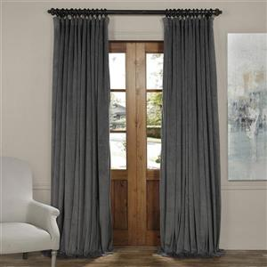 Exclusive Fabrics & Furnishing Signature 108-in x 100-in Natural Grey Doublewide Blackout Velvet Curtains
