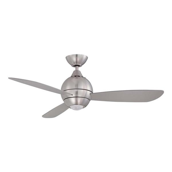 Kendal Lighting Kendal Lighting Sphere 44-in Satin Nickel LED Indoor Ceiling Fan with Light Kit and Remote (3-Blade)