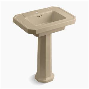 KOHLER Kathryn 35-in x 27-in Mexican Sand Pestestal Sink