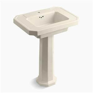 KOHLER Kathryn 35-in x 27-in Almond Pestestal Sink