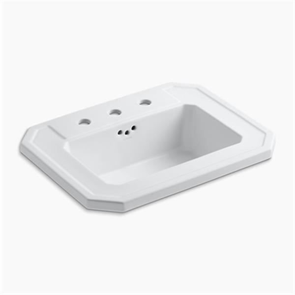 KOHLER Kathryn 24-in x 7.88-in White Self Rimming Sink