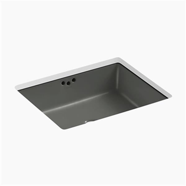 KOHLER Kathryn 19.75-in x 6.25-in Thunder Grey Under Counter Sink