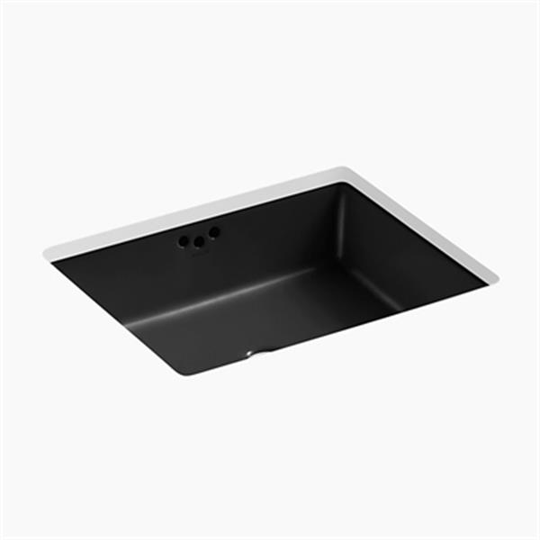 KOHLER Kathryn 19.75-in x 6.25-in Black Under Counter with Glazed Underside
