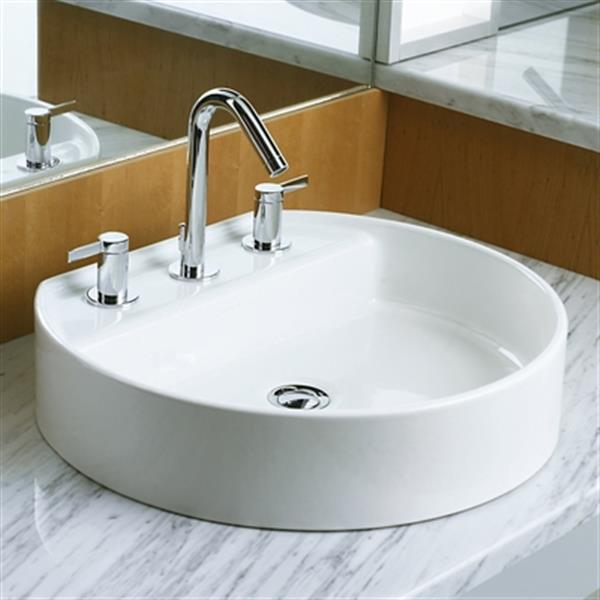 KOHLER Chord 18.63-in x 5.75-in White Wading Pool  Vessel Sink