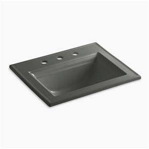 KOHLER Memoirs 22.75-in Thunder Grey Self-Rimming Sink with Stately Design