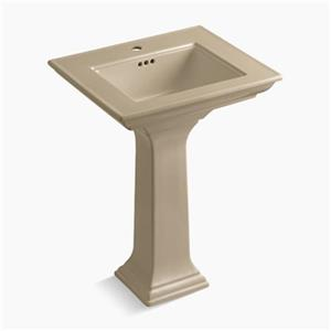 KOHLER 2344 Memoirs 24.5-in Mexican Sand Pedestal Lavatory Sink with Stately Design