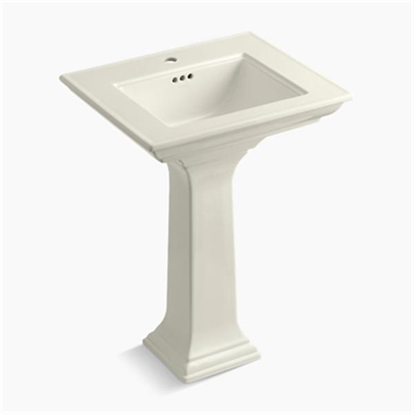 KOHLER 2344 Memoirs 24.5-in Biscuit Pedestal Lavatory Sink with Stately Design