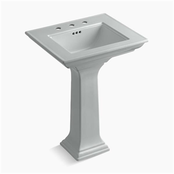 KOHLER 2344 Memoirs 24.5-in Ice Grey Pedestal Lavatory Sink with Stately Design