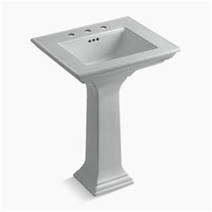 KOHLER 2344 Memoirs 24.5-in Ice Grey Pedestal Lavatory Sink with Stately Design