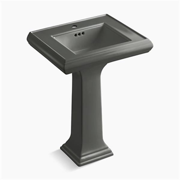 KOHLER Memoirs 34.38-in x 24-in Thunder Grey Fire Clay Pedestal and Sink
