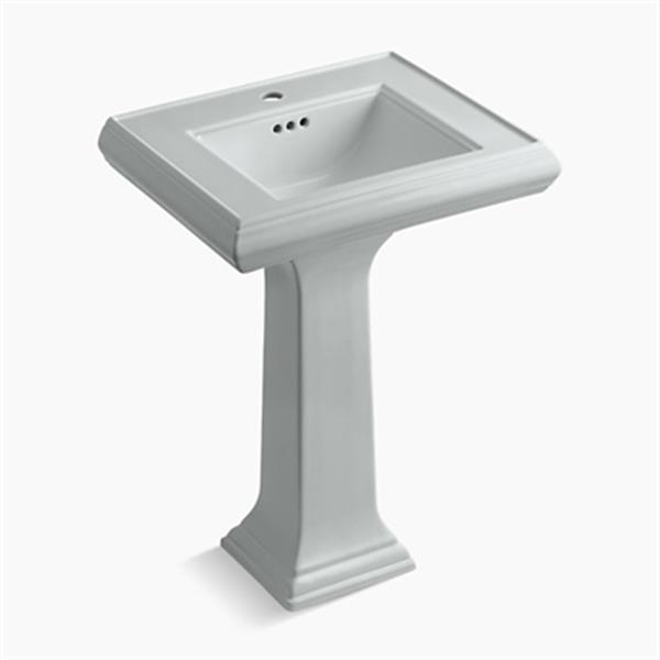 KOHLER Memoirs 34.38-in x 24-in Ice Grey Fire Clay Pedestal and Sink
