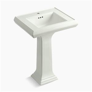KOHLER Memoirs 34.38-in x 24-in Off White Fire Clay Pedestal and Sink