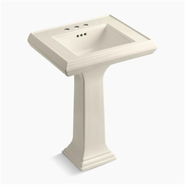 KOHLER Memoirs 34.38-in x 24-in Almond Fire Clay Pedestal and Sink