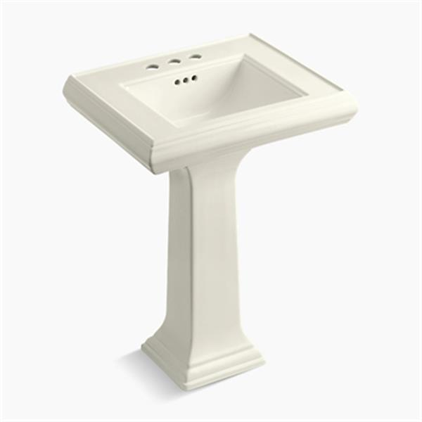 KOHLER Memoirs 34.38-in x 24-in Biscuit Fire Clay Pedestal and Sink