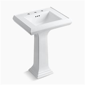 KOHLER Memoirs 34.38-in x 24-in White Fire Clay Pedestal and Sink
