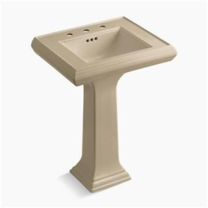 KOHLER Memoirs 34.38-in x 24-in Mexican Sand Fire Clay Pedestal and Sink