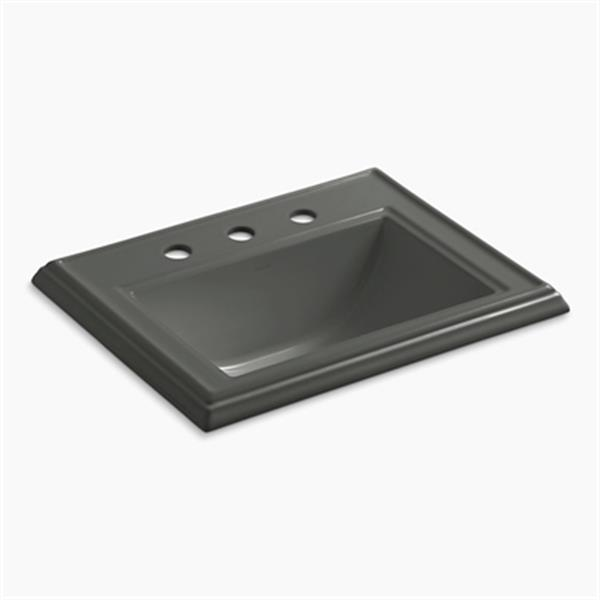 KOHLER Memoirs 2.75-in x 8.75-in Thunder Grey Rectangular Self Rimming Sink