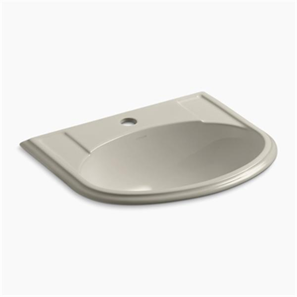 KOHLER Devonshire 19.75-in x 8-in Sandbar Porcelain Self Rimming Sink