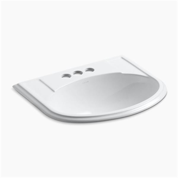 KOHLER Devonshire 19.75-in x 8-in White Porcelain Self Rimming Sink