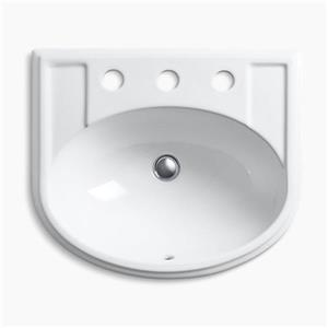 Kohler Co. Devonshire 19.75-in x 8-in White Porcelain Self Rimming Sink