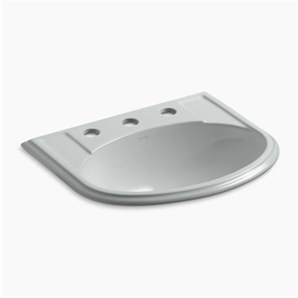 KOHLER Devonshire 19.75-in x 8-in Ice Grey Porcelain Self Rimming Sink