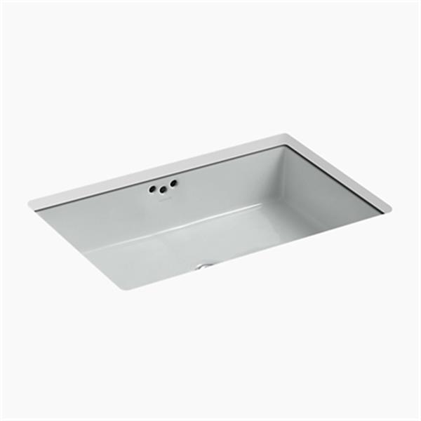 KOHLER Kathryn 23.88-in x 6.25-in Ice Grey Porcelain Under Counter Sink